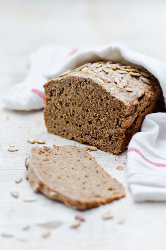 fresh homemade whole-grain bread with sunflower seeds